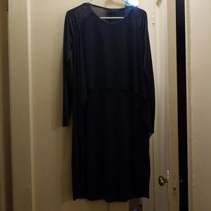 Cos Navy Dress, Sheer Sleeves and draping detail